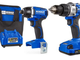 Kobalt 1 4in Brushless Impact Driver  1 2in Brushless Hammer Drill  Charger  Battery and Bag