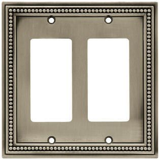 Brainerd 64770 Beaded Double Decorator Wall Plate   Switch Plate   Cover  Brushed Satin Pewter
