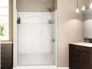 DElTA White Acrylic 1 Piece Shower with Integrated Seat  Common  36 in x 48 in  Actual  76 in x 35 875 in x 47 875 in