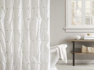 The Curated Nomad Jessie Cotton Shower Curtain and Curved Rod