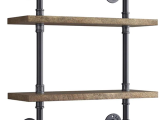 Whalen Wall Mount 2 Tier Industrial Pipe Shelving