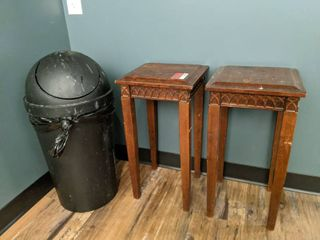 Trashcan  And Two Wooden End Tables