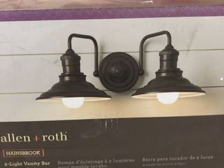 Allen   Roth Hainsbrook 2 light Vanity light Fixture Aged Bronze 0612650