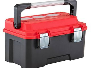 Craftsman 20 in  Plastic Pro Cantilever Tool Box 10 73 in  W x 11 75 in  H Black Red MISSING A lATCH