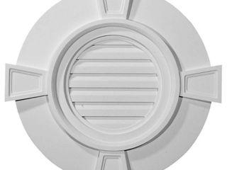 Ekena Millwork GVRO24TDK 24 Inch W x 24 Inch H x 1 1 2 Inch P Round Gable Vent with Keystones  Decorative