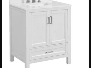 Durham 30 in White Oak Single Sink Bathroom Vanity Without Top