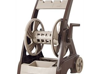 Ames 2386280Nl Neverleak Hose Cart Reel  250 Feet Hose  Damaged  Missing Wheel Tan and Brown
