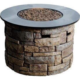 Cracks on Stone Circle Top See Photos  allen   roth Canyon Ridge 36 6 in W 50 000 BTU Stone Design Composite Propane Gas Fire Column
