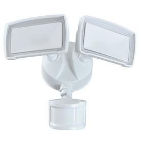 Good Earth lighting 180 Degree 2 Head White lED Motion Activated Flood light with Timer