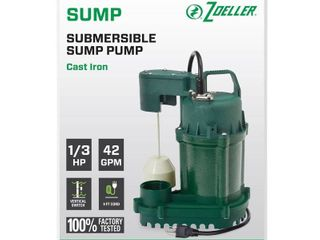 Zoeller 1 3 Hp Cast Iron Submersible 42gpm Sump Pump W  9  Cord 1073 0001