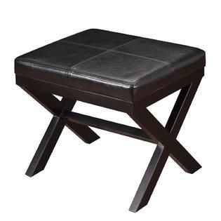 Adeco Black Bonded leather Ottoman  Footrest with X shaped legs Retail 78 48