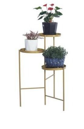 Tri level Metal Plant Stand Gold Color Decorative Hinged Tray Stand Display