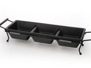 Signature Housewares Expressions 3 Section Server in Caddy   Black Matte