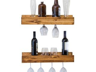 Handmade Del Hutson Designs Rustic luxe Shallow Stemware Racks  Set of 2