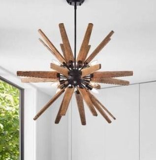 Bernice 8 light Antique Black Sputnik Natural Wood Chandelier Retail 194 49