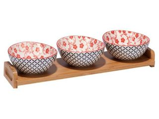 Certified International Red Floral lattice Ceramic and Bamboo 4 piece Serving Set