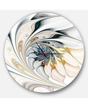 Designart  White Stained Glass Floral Art  Oversized Modern Wall Clock Retail 216 49