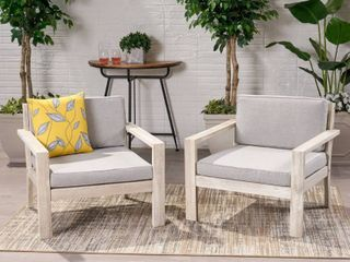 Santa Ana Outdoor Acacia Wood Club Chair with Cushions by Christopher Knight Home  Brushed light Gray Wash light Gray   only 1 chair