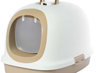 Fully Enclosed Hooded Odor free Front Entry Cat Toilet   White   Medium