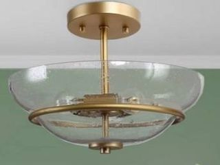 Mid Century 3 light Semi Flush Mount Ceiling lighting Fixture Gold   W12 x H9    W12 x H9  Retail 134 49