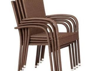 Wetau Stackable Outdoor Wicker Chairs  Set of 4  by Havenside Home Retail 186 99