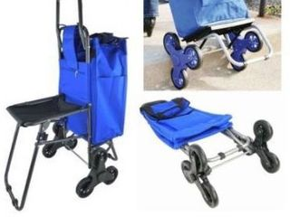 Shopping Dolly Climbing Wheeled Rolling Stair Foldable Trolley Cart   Folding Climb Storage Grocery Cart With Tri Wheels   Seat