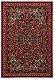 Rubber Back Red Traditional Floral Print Non Skid Area Rug  5  x 6 6    5  x 6 6   5  x 6 6