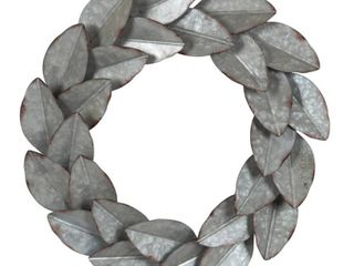 Kate and laurel Magnolia Galvanized Metal Wall Wreath