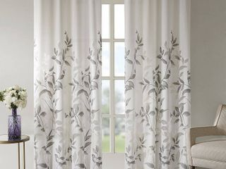 84 x50  Rosalie Burnout Printed Sheer Window Panel Gray