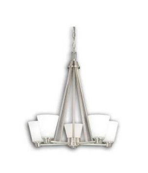 5 light Satin Nickel Chandelier White Glass   23 5 in W x 23 5 in H x 23 5 in D