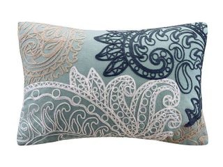 Kiran With Chain Stitch lumbar Pillow Blue