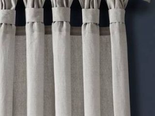 Porch   Den Alsea Burlap Knotted Tab Top Window Curtain Panel Pair Retail 98 49