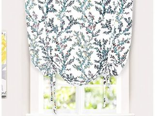 DriftAway Jasmine Tie Up Watercolor Branch Botanical lined Thermal Insulated Room Darkening Energy Saving Window Curtain 2 layers 45 Inch by 63 Inch Blue