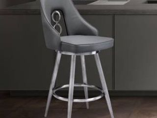Strick   Bolton Salokivi Grey Faux leather  Stainless Steel Stool Retail 295 49