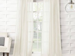 95 x50  Avril Crushed Texture light Filtering Rod Pocket Curtain Panel Cream   No  918