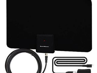 Supreme Amplified Razor 50 HDTV Indoor Flat leaf Antenna with RG6 Cable