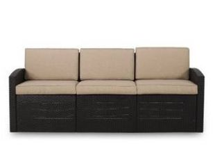 Heald Outdoor Faux Wicker 3 Seater Sofa with Cushions by Christopher Knight Home Retail 349 99