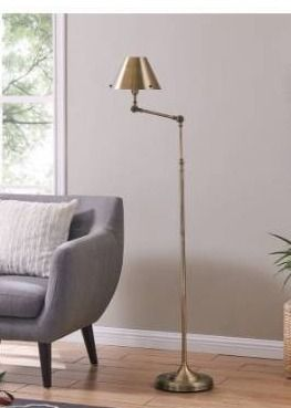 Porch   Den Capulet Brushed Brass Finish Metal Adjustable Floor lamp Retail 139 99