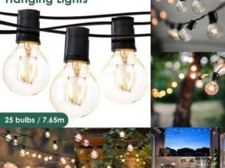 7 65m String lights Outdoor lED lights Hanging lights for Garden Pergola Decks Cafe Market  25 lights