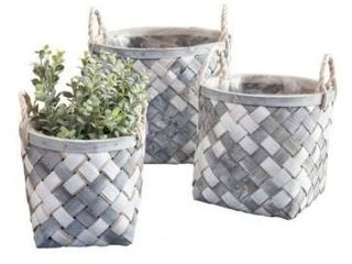 3 Set White and Gray Wooden Baskets
