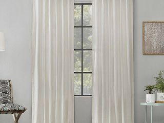 108 x52  Washed Cotton Twisted Tab light Filtering Curtain Panel Ivory   Archaeo