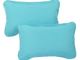 Sunbrella Canvas Aruba Indoor Outdoor lumbar Pillows  Set of 2
