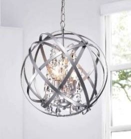 Benita Silver 4 light Metal Crystal Orb Chandelier Retail 141 49