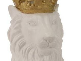 Polyresin Decorative lion Figurine with Crown  Gold and White Retail 99 99