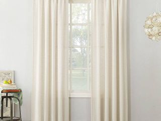 84 x54  linen Blend Textured Sheer Rod Pocket Window Curtain Panel Ivory   No  918
