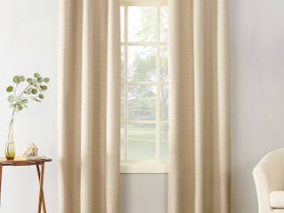 95 x40  Cooper Textured Thermal Insulated Grommet Top Room Darkening Curtain Panel Beige   Sun Zero