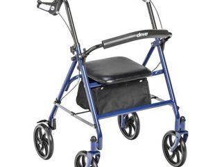 Rollator Steel 4 Wheel Blue 1 ea