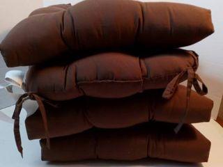 Arlee Micro Fiber Reversible Chair Pad Cushion Chocolate Brown Set 4