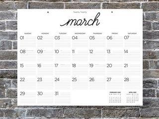 2020 Farmhouse Script Calligraphy Desk Pad Calendar