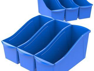 Storex large Book Bin   Blue